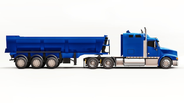 Large blue american truck with a trailer type dump truck for transporting bulk cargo on a white background. 3d illustration.