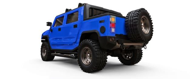 시골이나 흰색 외진 배경의 탐험을 위한 대형 파란색 오프로드 픽업 트럭. 3d 그림입니다.