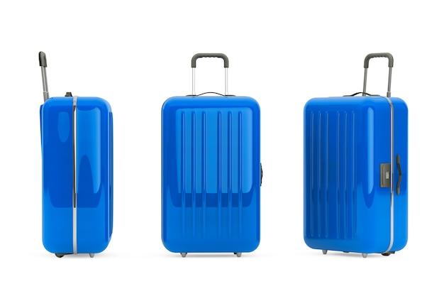 Большие синие чемоданы из поликарбоната на белом фоне