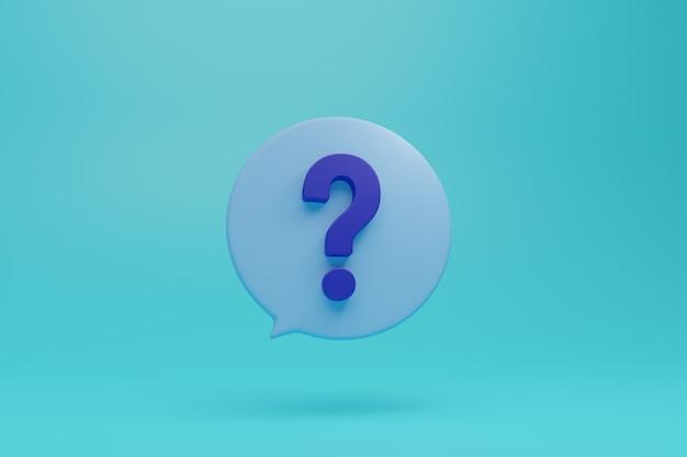 丸いダイアログボックスの水色の背景と3dスタイルの図の大きな青い疑問符