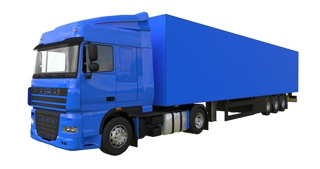 세미트레일러가 있는 대형 파란색 트럭. 그래픽을 배치하기 위한 템플릿입니다. 3d 렌더링.