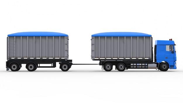 農業用および建築用のバルク材や製品の輸送用の、独立したトレーラーを備えた大型の青いトラック。 3dレンダリング。