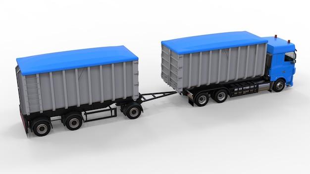 농업 및 건축 자재 및 제품의 운송을위한 별도의 트레일러가있는 대형 파란색 트럭. 3d 렌더링.