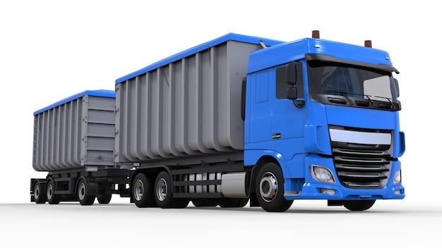 별도의 트레일러가 있는 대형 파란색 트럭으로 농업 및 건축용 벌크 자재 및 제품을 운송합니다. 3d 렌더링.
