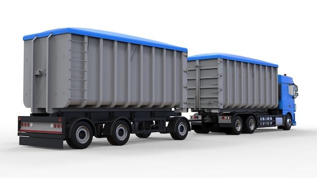 농업 및 건축 자재 및 제품의 운송을위한 별도의 트레일러가있는 대형 파란색 트럭