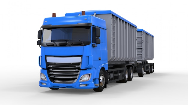 Large blue truck with separate trailer, for transportation of agricultural and building bulk materials and products. 3d rendering.
