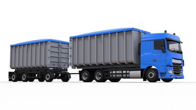 Large blue truck with separate trailer