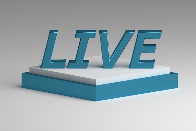 台座に大きな青い単語live