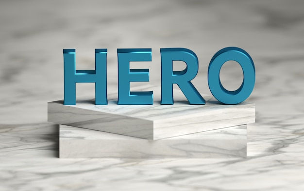 Large bold blue word hero standing on marble pedestal