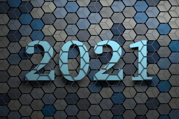 회색 와이어 프레임으로 덮인 많은 무작위 색상의 육각형이있는 표면 위에 큰 굵은 새해 2021 숫자