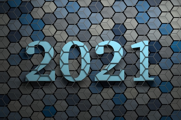 Large bold new year 2021 numbers over surface with many random colored hexagons covered with gray wireframe