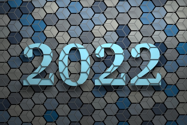 Large bold new year 2022 numbers over surface with many random colored hexagons covered with gray wireframe