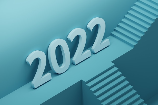 Large bold year 2022 number standing on architectural pedestal with stairs