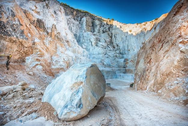 Large boulder of white carrara marble