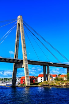 The large cable-stayed bridge over the sea Premium Photo