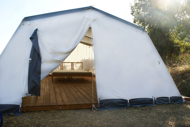 Large camping tent open