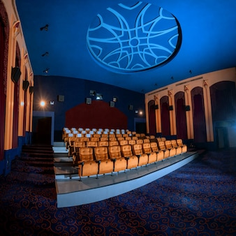 관객이 영화관 프로젝터로 영화관 시사회에 앉을 수있는 좌석 열이있는 대형 영화관 내부. 영화관은 영화 감상의 고급 스러움을 위해 고전적으로 장식되어 있습니다.