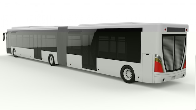 A large city bus with an additional elongated part for large passenger capacity during rush hour or transportation of people in densely populated areas. model template for placing your inscriptions