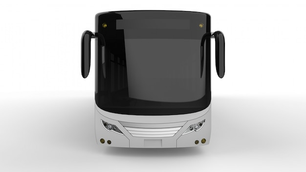 A large city bus with an additional elongated part for large passenger capacity during rush hour or transportation of people. model template for placing your images and inscriptions.