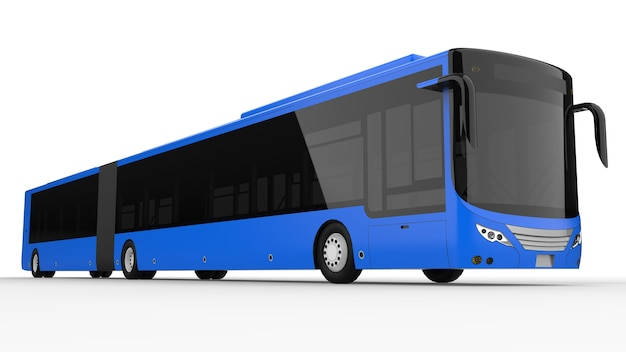 A large city bus with an additional elongated part for large passenger capacity during rush hour