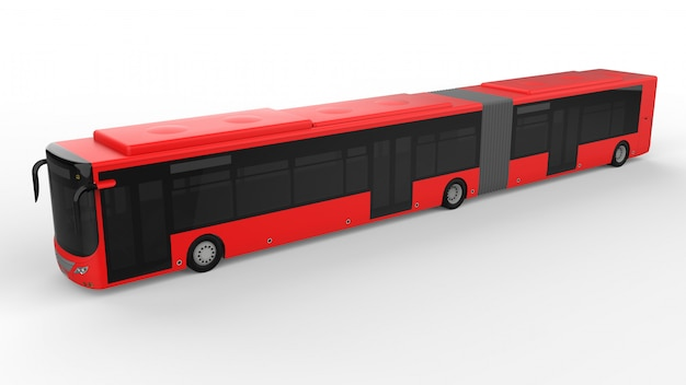 A large city bus with an additional elongated part for large passenger capacity