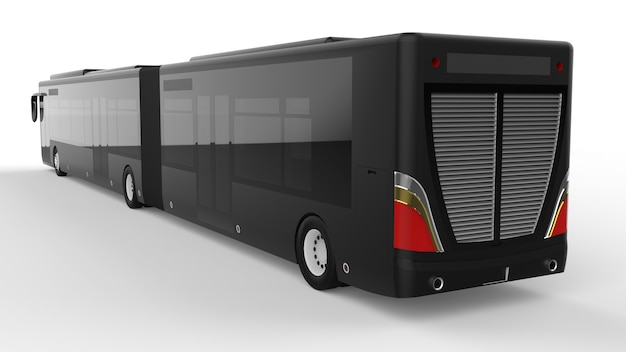 Large city bus with an additional elongated part for large passenger capacity