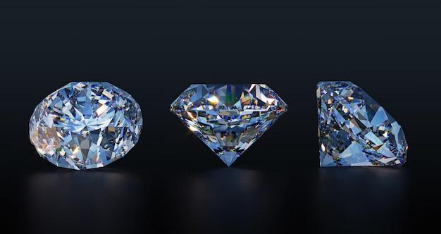 Large clear diamonds on dark table