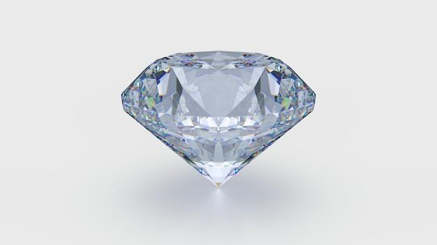 白い背景で隔離の大きな透明な光沢のあるダイヤモンド。 3dレンダリングイラスト
