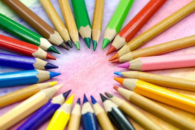 Large colored pencils close-up