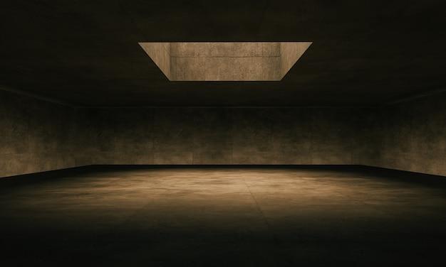 상단 창과 바닥 가장자리로 조명이 비추는 대형 콘크리트 방입니다. 3d 렌더링