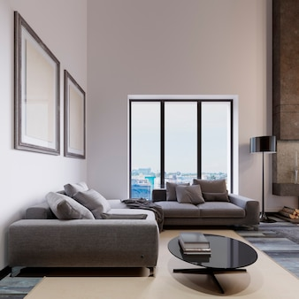 A large corner sofa by the living room window is contemporary style, gray fabric, a multifunctional modular sofa with a magazine table and paintings on the wall. 3d rendering
