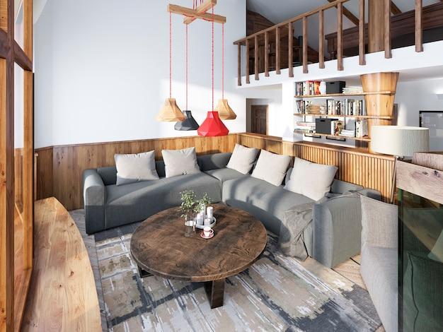 나무 패널 벽이있는 거실 럭셔리 로프트 스타일의 대형 코너 소파