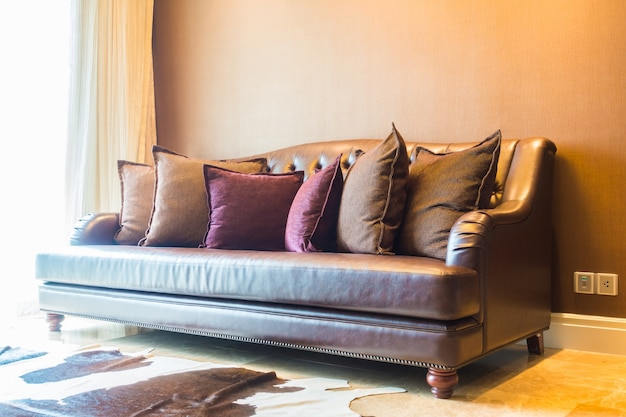 Large couch with many cushions