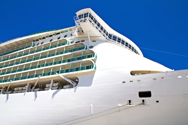 Large cruise ship in the port