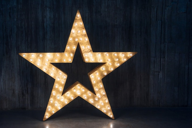 Large decorative retro star with lots of burning lights