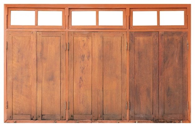 Large dirty wooden window isolated on white