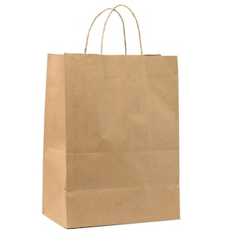 Large disposable brown kraft paper bag with handles isolated on white background, eco packaging, zero waste