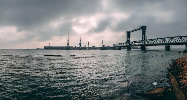 Large drawbridge in zatoka, ukraine
