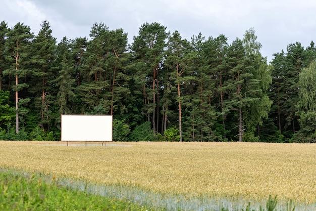 高速道路の屋外広告用の大きな空の看板、自然の中で空の看板
