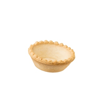 Large empty tartlet isolated on a white wall. baked goods for snacks.