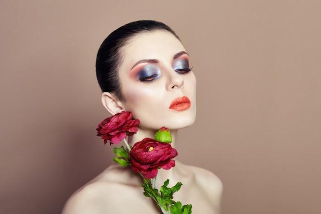 Large flowers woman face makeup, art fashion girl