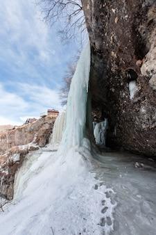 A large frozen waterfall. 3 cascading waterfall in dagestan.republic of dagestan