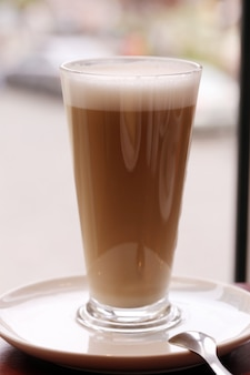 A large glass of cold coffee