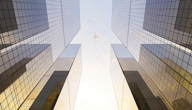 맑은 하늘에서 오버 헤드를 지나가는 비행기가있는 도시의 대형 유리 금융 고층 빌딩