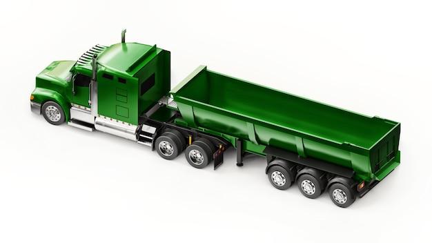 흰색 바탕에 벌크 화물을 운반하기 위한 트레일러 유형 덤프 트럭이 있는 대형 녹색 미국 트럭. 3d 그림입니다.