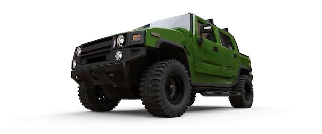 시골이나 흰색 외진 배경의 탐험을 위한 대형 녹색 오프로드 픽업 트럭. 3d 그림입니다.