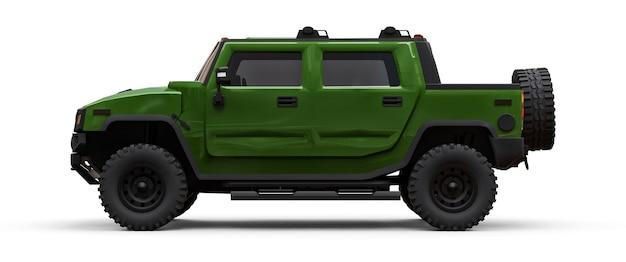 시골이나 흰색 격리 된 배경에 탐험을위한 대형 녹색 오프로드 픽업 트럭