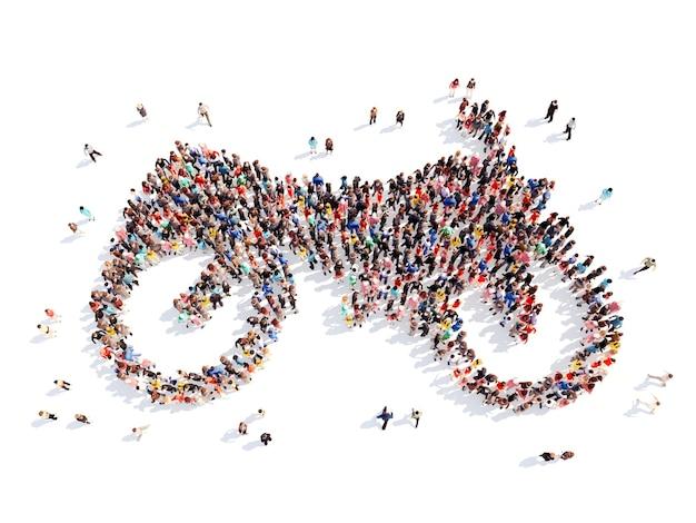 オートバイの形をした大勢の人々。孤立した、白い背景。