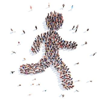 Большая группа людей в виде бегущего человека