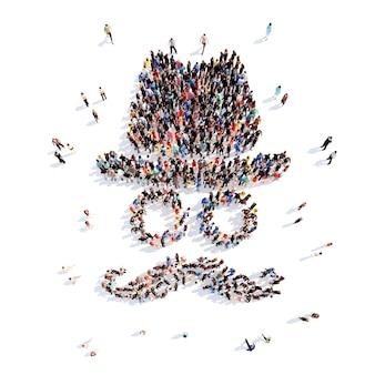 Большая группа людей в виде шляп, очков и усов изолированный белый фон